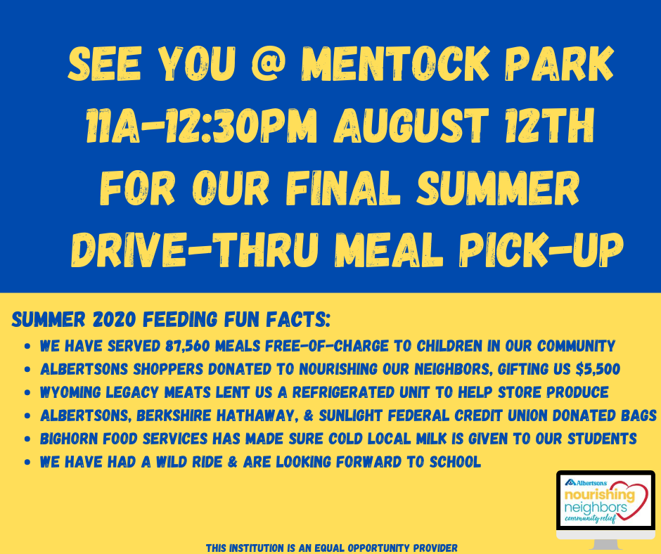 Meal Pick Up Banner, location and time